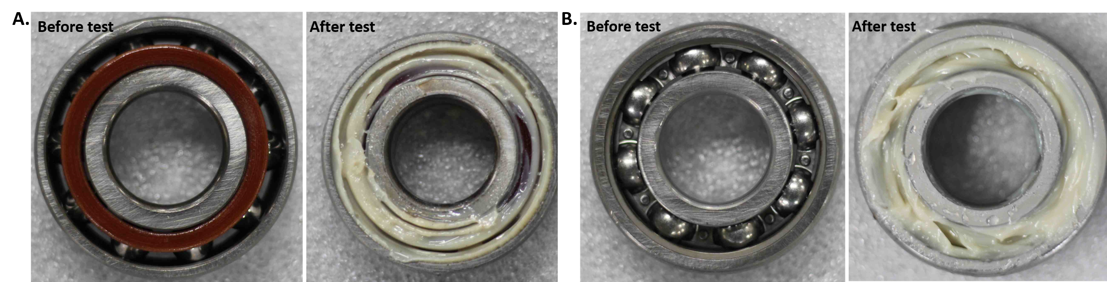 Bearings according to IP 186 and ASTM D1478